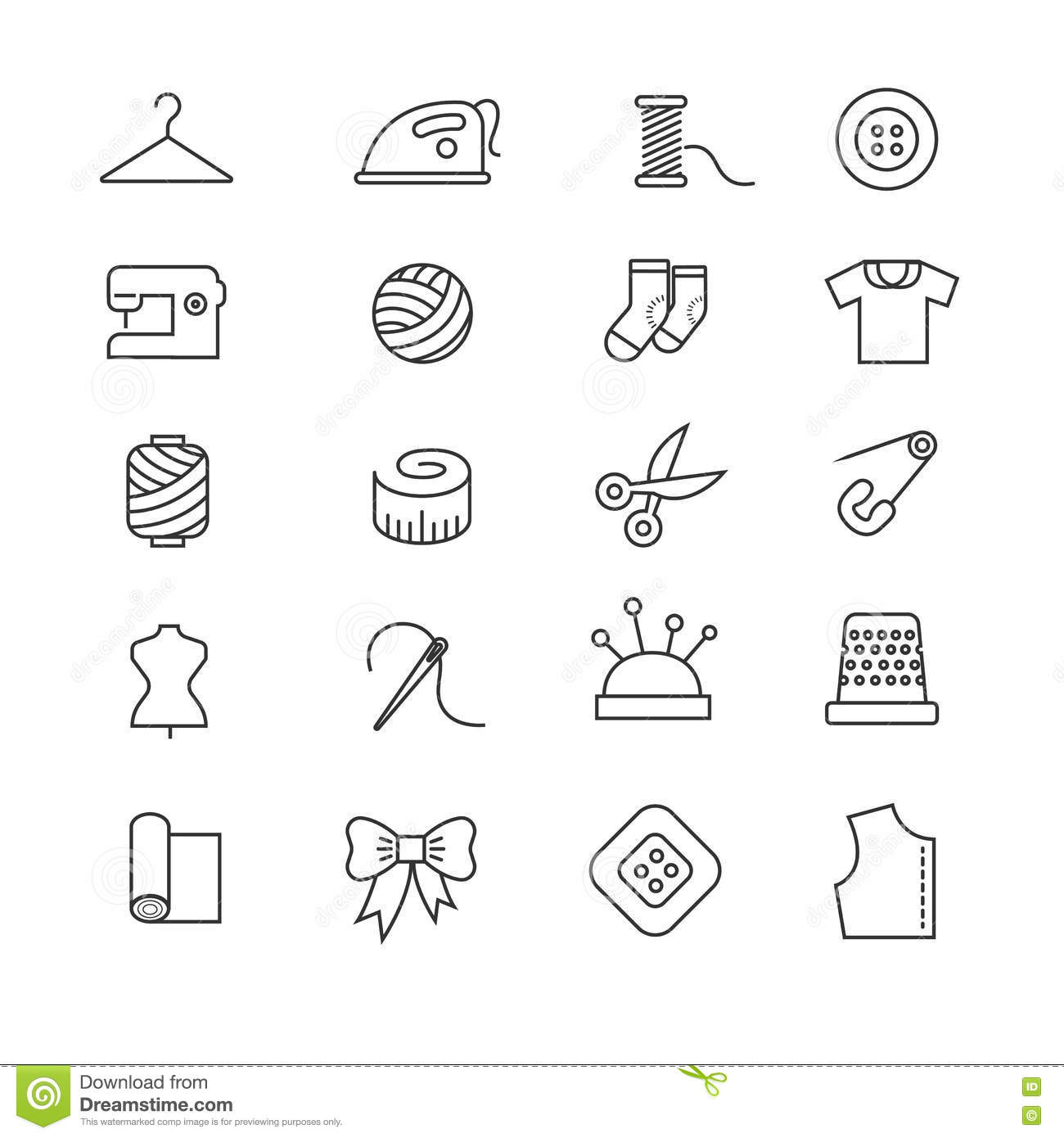 Thin Lines Fabric Sewing Tailor Knitting Vector Icons