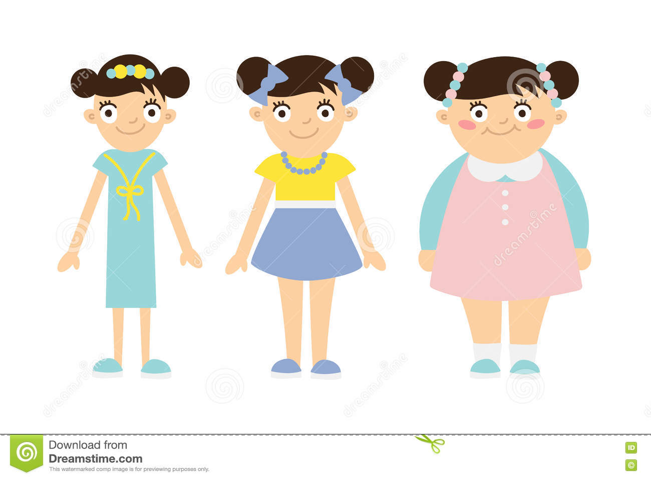 From Thin To Fat Kid. Stock Vector. Illustration Of