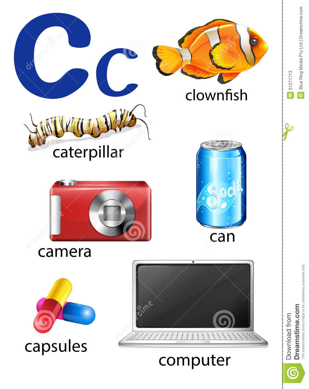 Things That Start With The Letter C Cartoon Vector