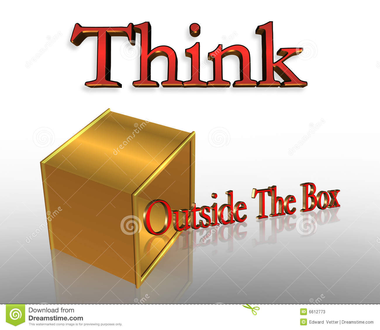 Think Outside The Box Business Slogan Stock Illustration
