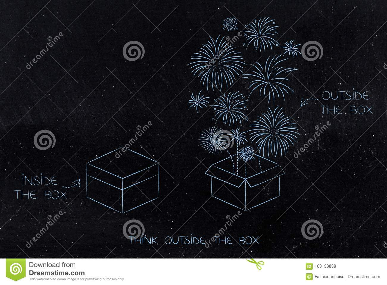 hight resolution of think outside the box conceptual illustration inside and outside comparison with fireworks flying out