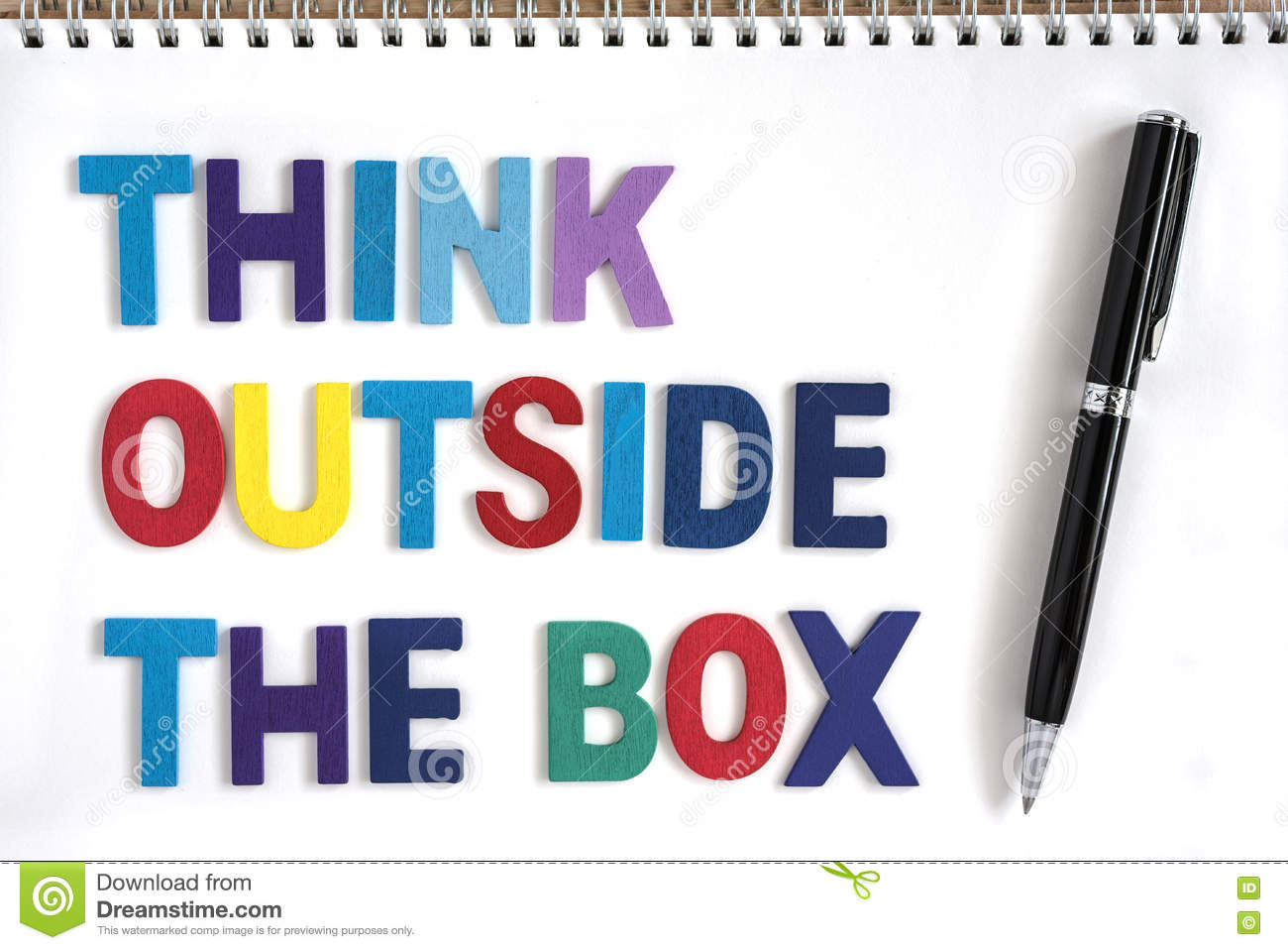 Think Outside The Box Quotes Business Concept Stock Photo