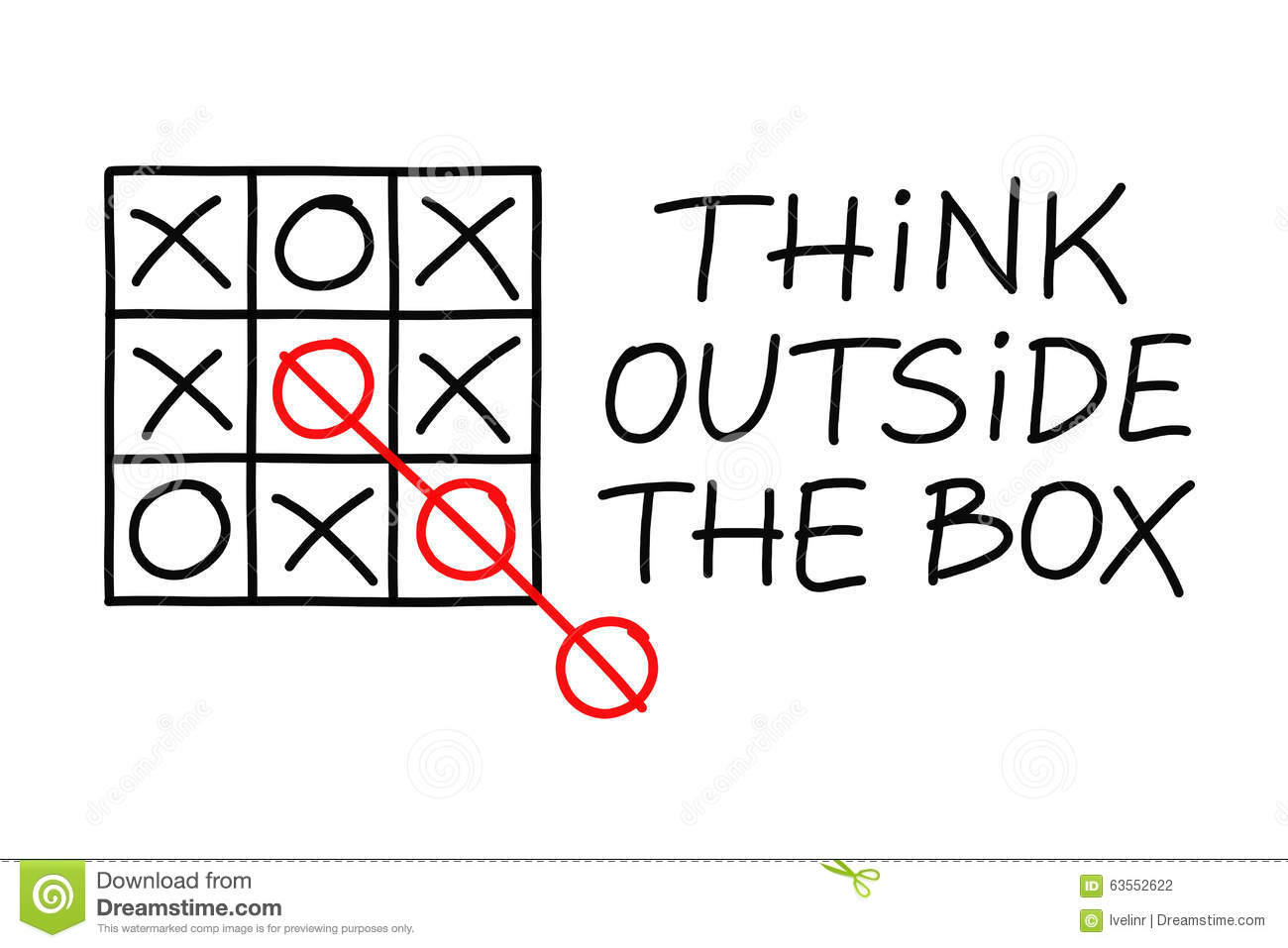 Think Outside The Box Tic Tac Toe Stock Illustration