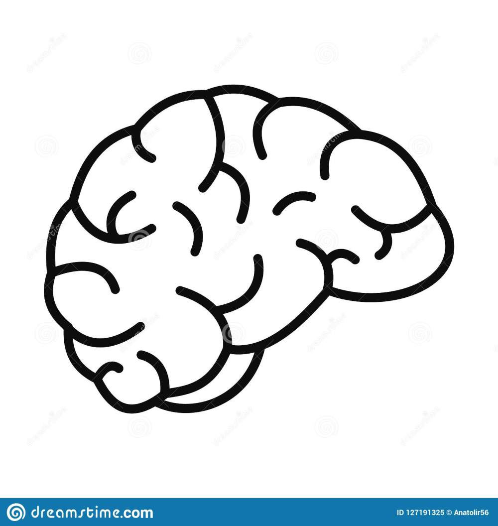 medium resolution of thinking brain icon outline style