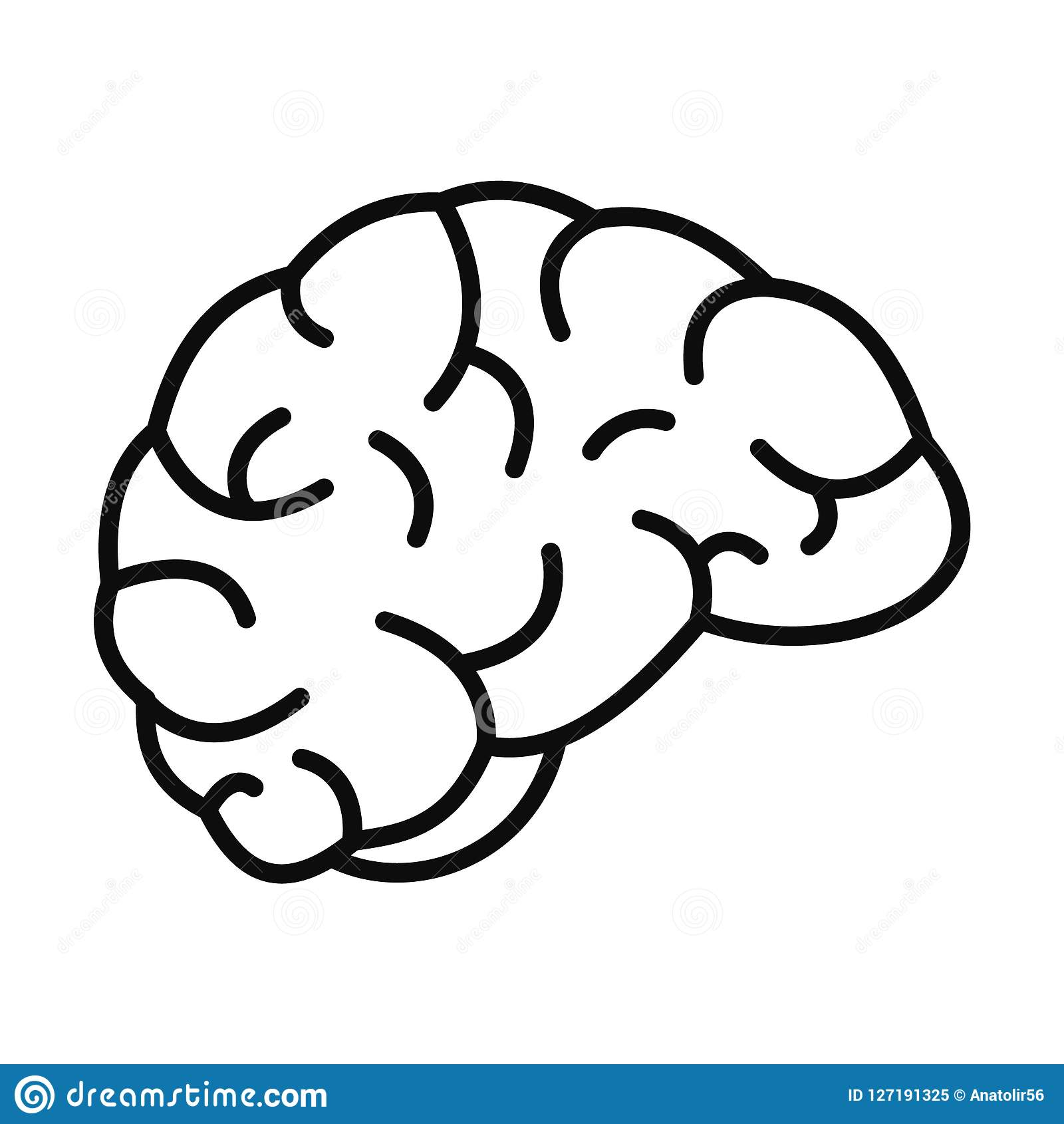 hight resolution of thinking brain icon outline style