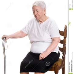Old Lady Chair X Back Dining Chairs Unfinished Thoughtful Woman Stock Photo Image 39779439