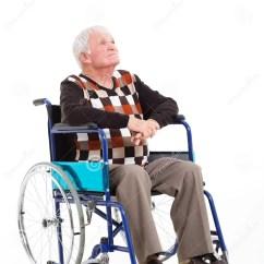 Modern White Chair Pink Swivel Desk Thoughtful Senior Wheelchair Stock Photo - Image: 35076896