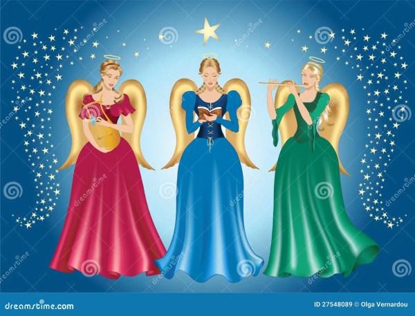 Three Angels Stock Vector. Of Illustration Card