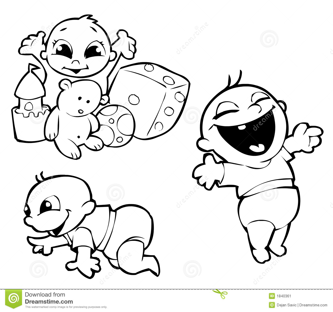 Three Babies Stock Illustration Illustration Of Cute
