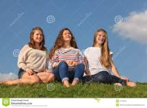 Three Barefoot Girls Sit And Distance Royalty