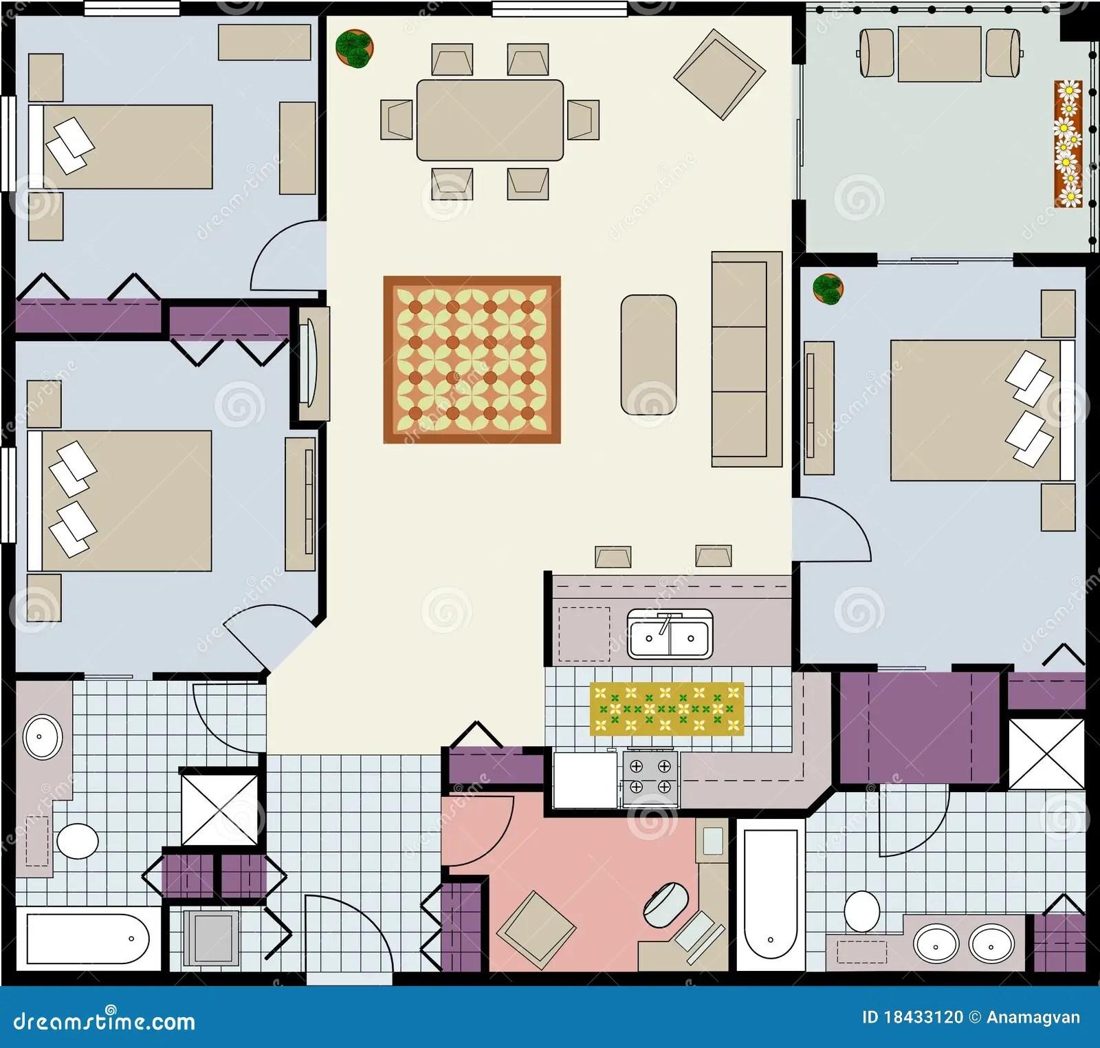 Three Bedroom Floor Plan Stock Vector Image Of