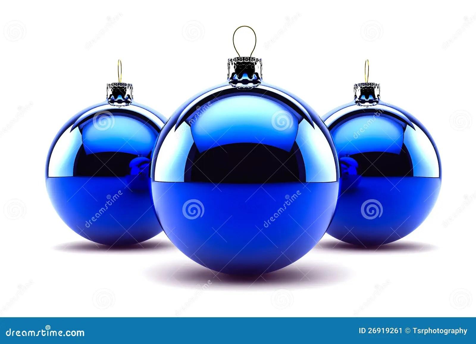 Three Blue Christmas Baubles Stock Image Image 26919261
