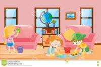 Boy And Girl Cleaning Living Room Cartoon Vector ...