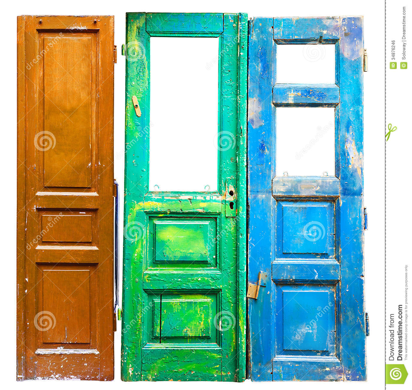 Three Colored Old Wooden Doors Stock Photo Image 34876246