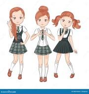 three cute girlfriends. stock vector