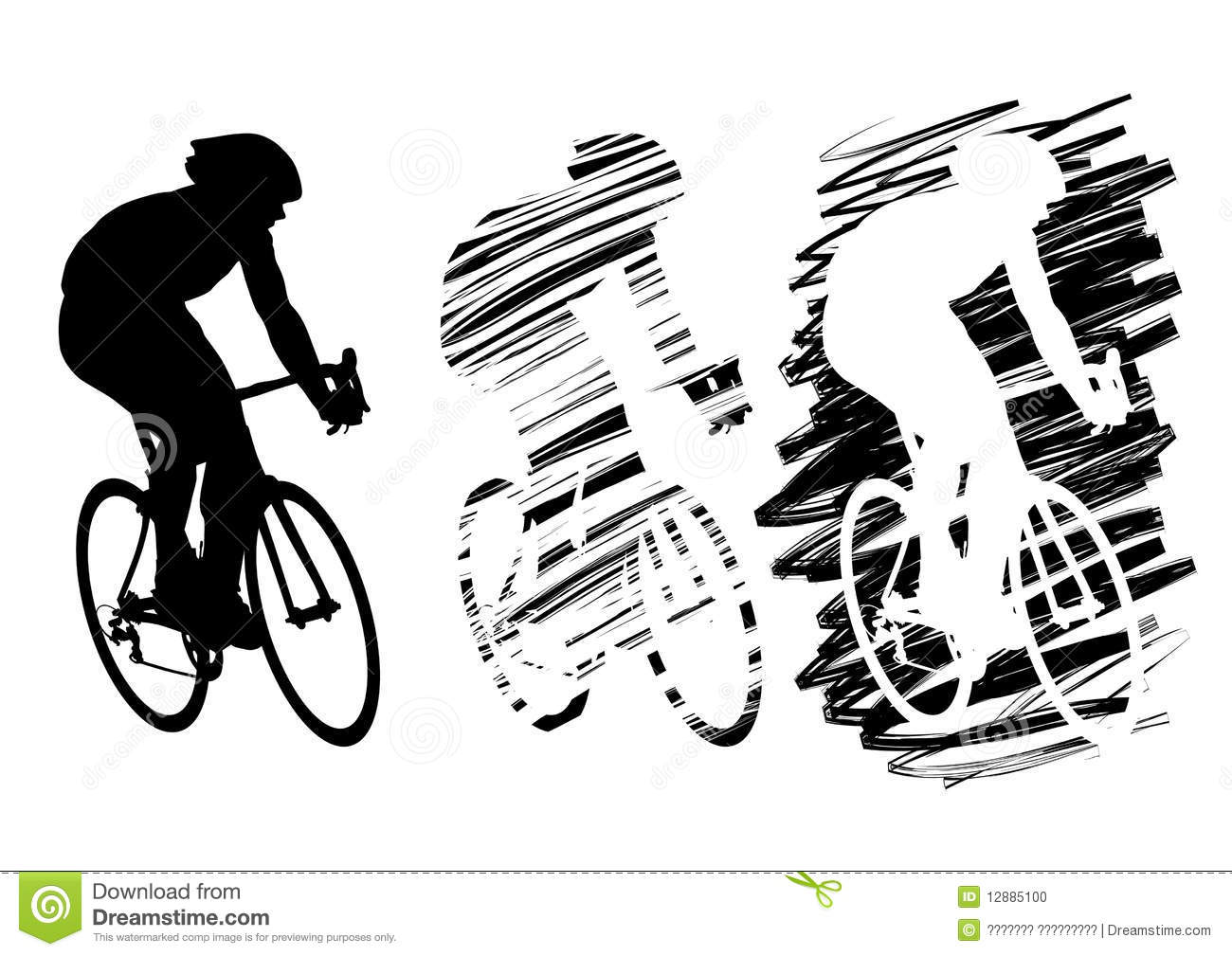 Three Cyclist In Motion Stock Photo