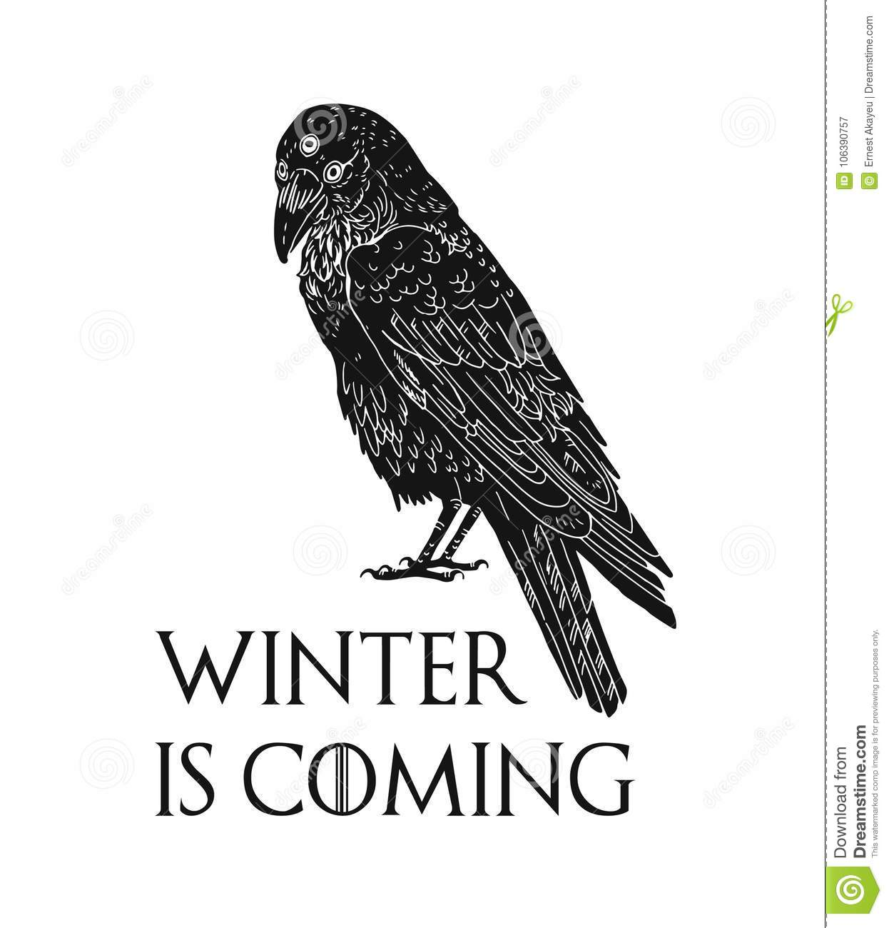 Three Eyed Raven And Winter Is Coming Inscription