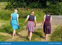 Three Girls In Dirndl Stock Of