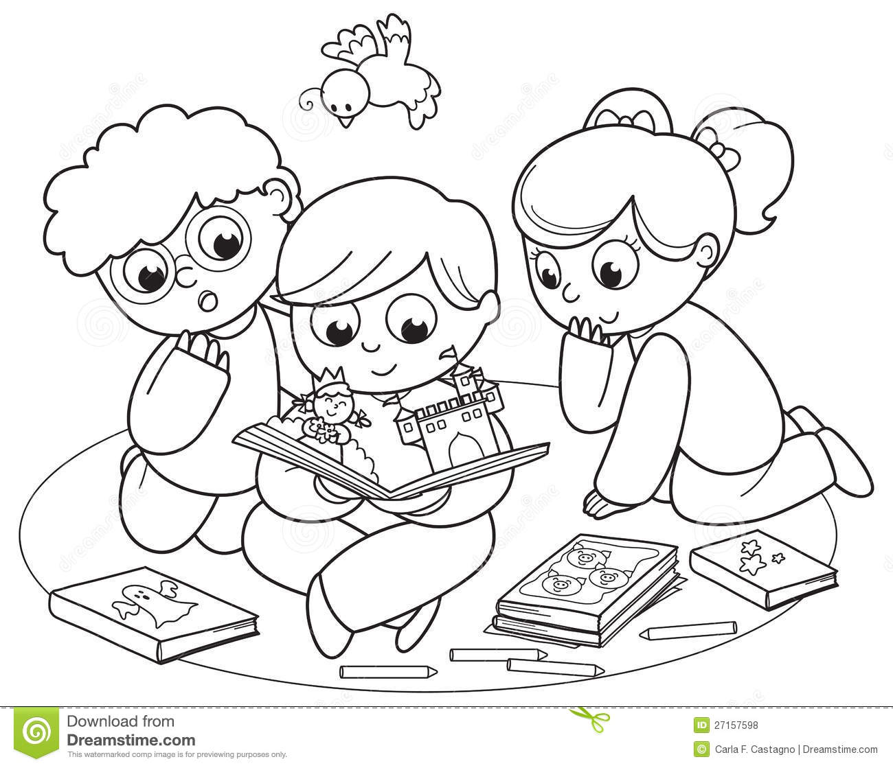 Three Kids Reading A Pop-up Book Royalty Free Stock Photos