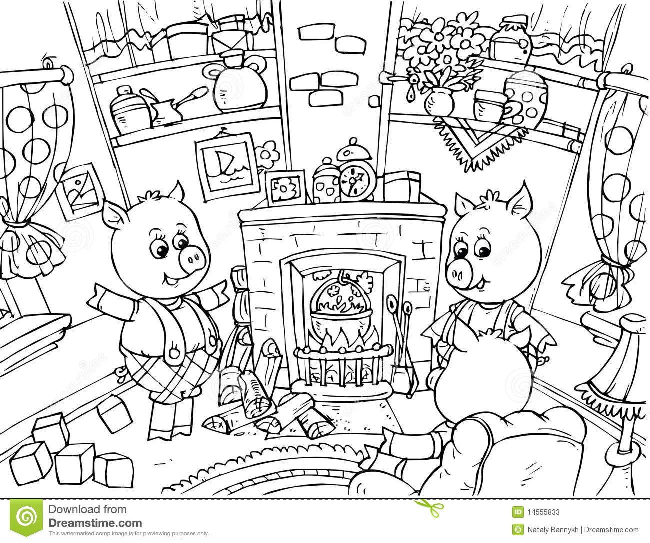 Three Little Pigs stock illustration. Image of coloring