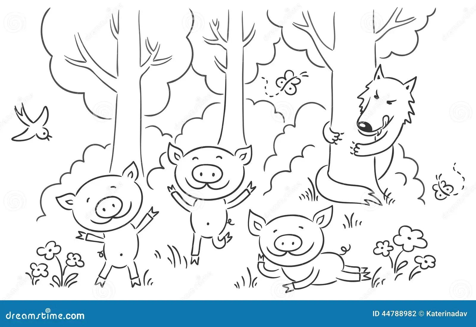 Three Little Pigs Fairy Tale Stock Vector