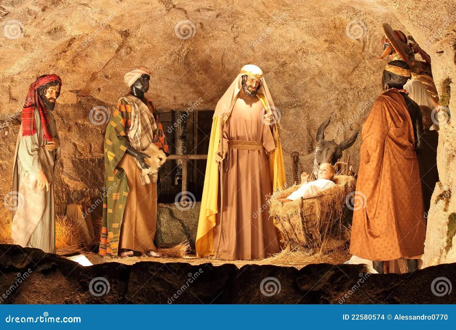 Three Magi And Jesus Christ Scene Editorial Stock Image