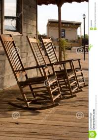 Three Old West Town Empty Rocking Chairs Royalty Free ...