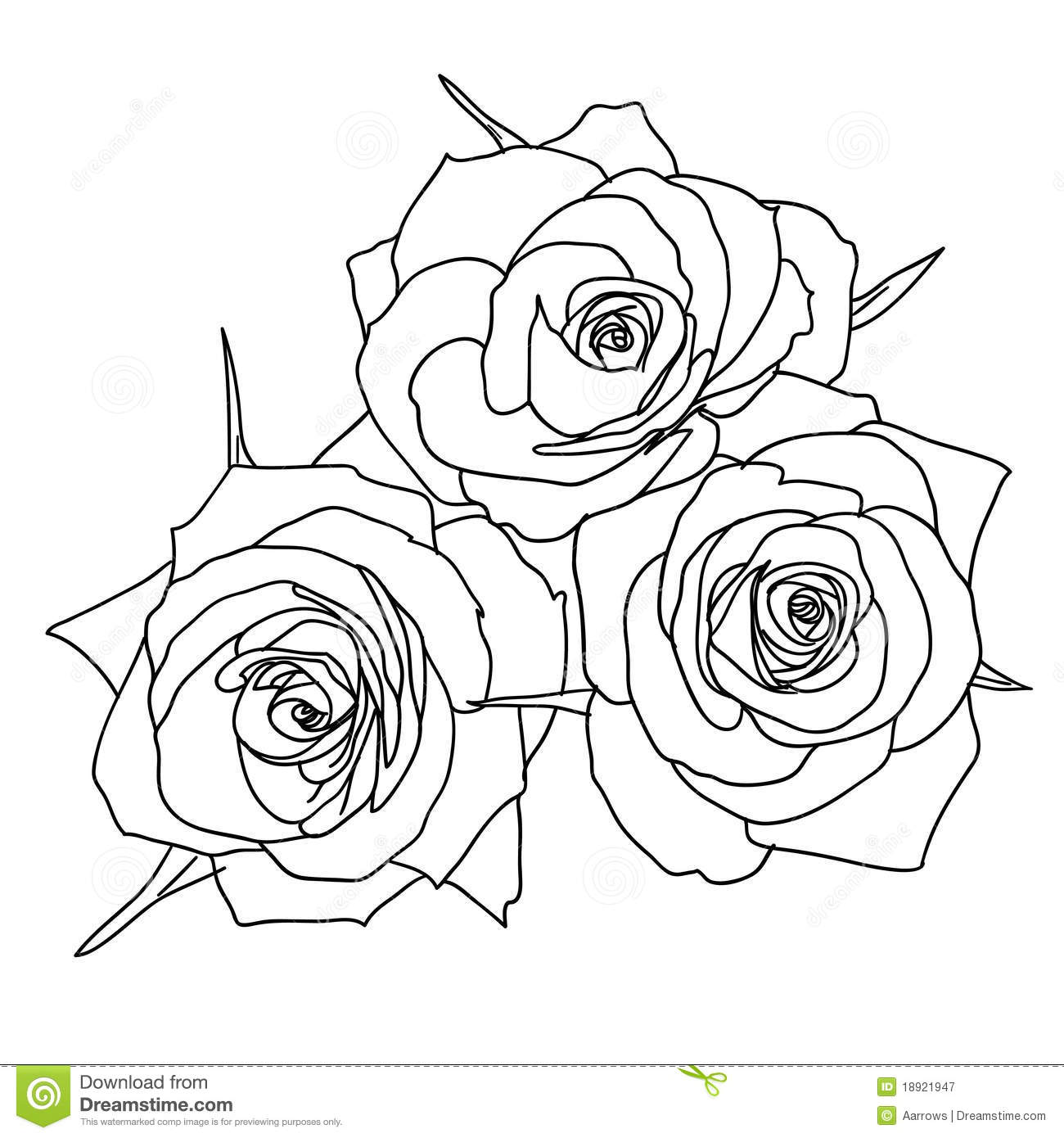Three Roses In Hand Drawn Style Royalty Free Stock