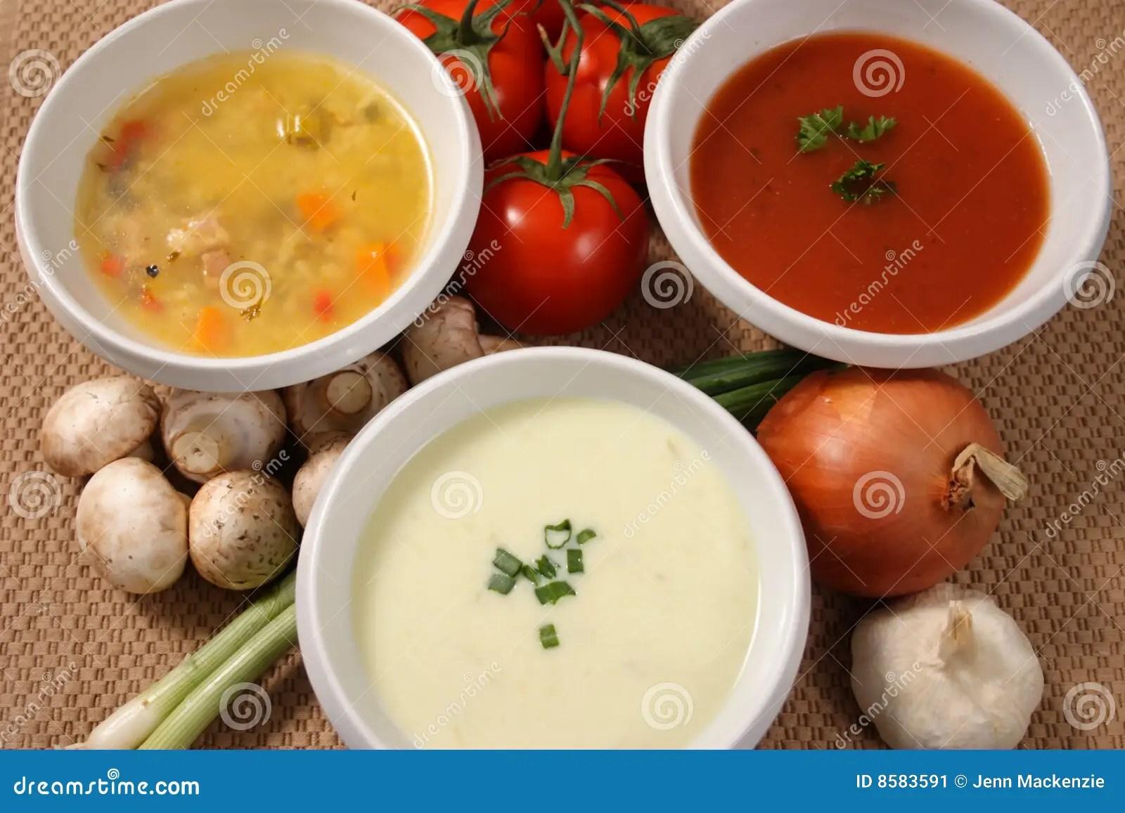 Three Soups Stock Image