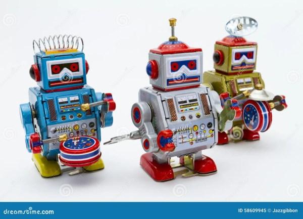 Three Tin Toy Robots Stock Of Child Metal