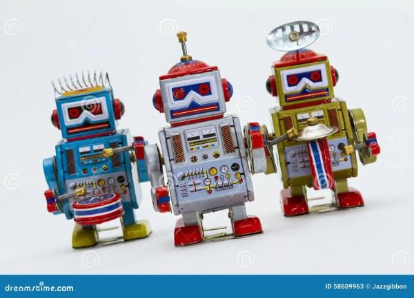 Three Tin Toy Robots Stock - 58609963