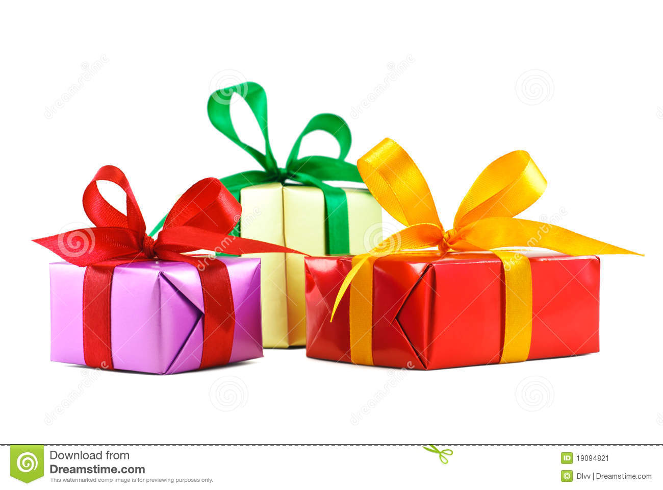 Three Various Gift Wrapped Presents Stock Image  Image Of