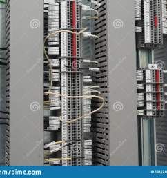 terminals and three vertical rows of cable trays cables conected in numbered terminals all mounted on the steel plate one white wire in the centre  [ 1600 x 1289 Pixel ]