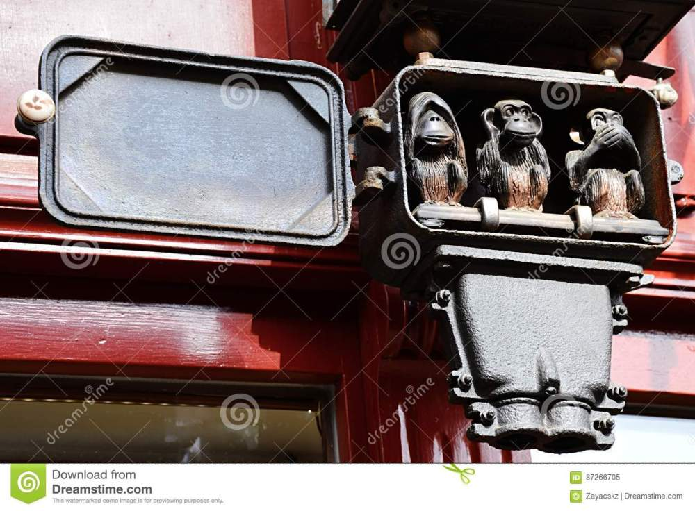 medium resolution of three wise monkeys small sculptural group placed in antique electric clock fuse box