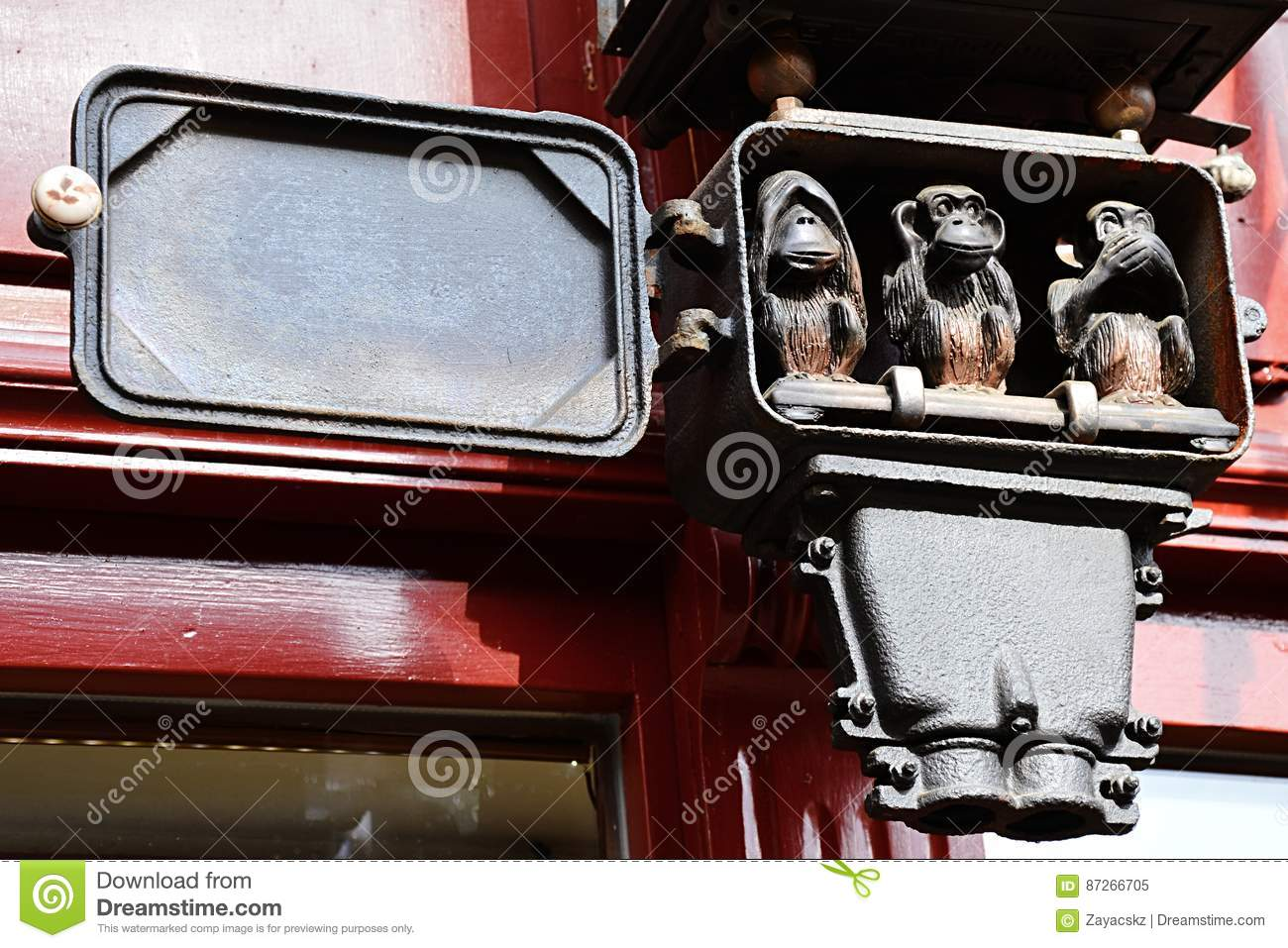 hight resolution of three wise monkeys small sculptural group placed in antique electric clock fuse box