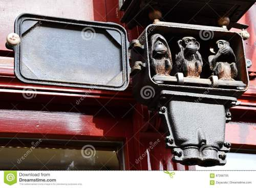 small resolution of three wise monkeys small sculptural group placed in antique electric clock fuse box