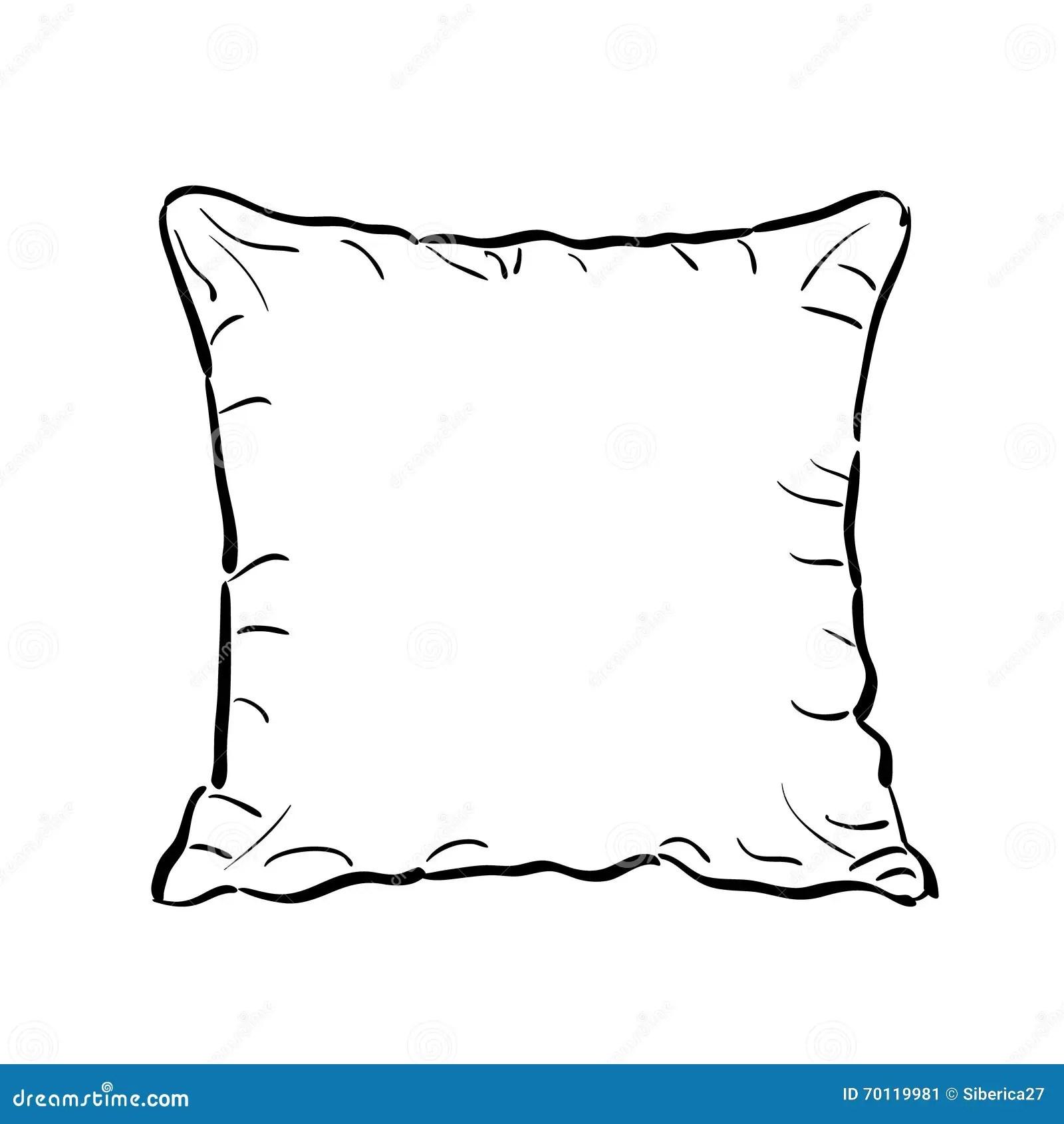Throw Pillow Sketch. Vector Illustration. Stock
