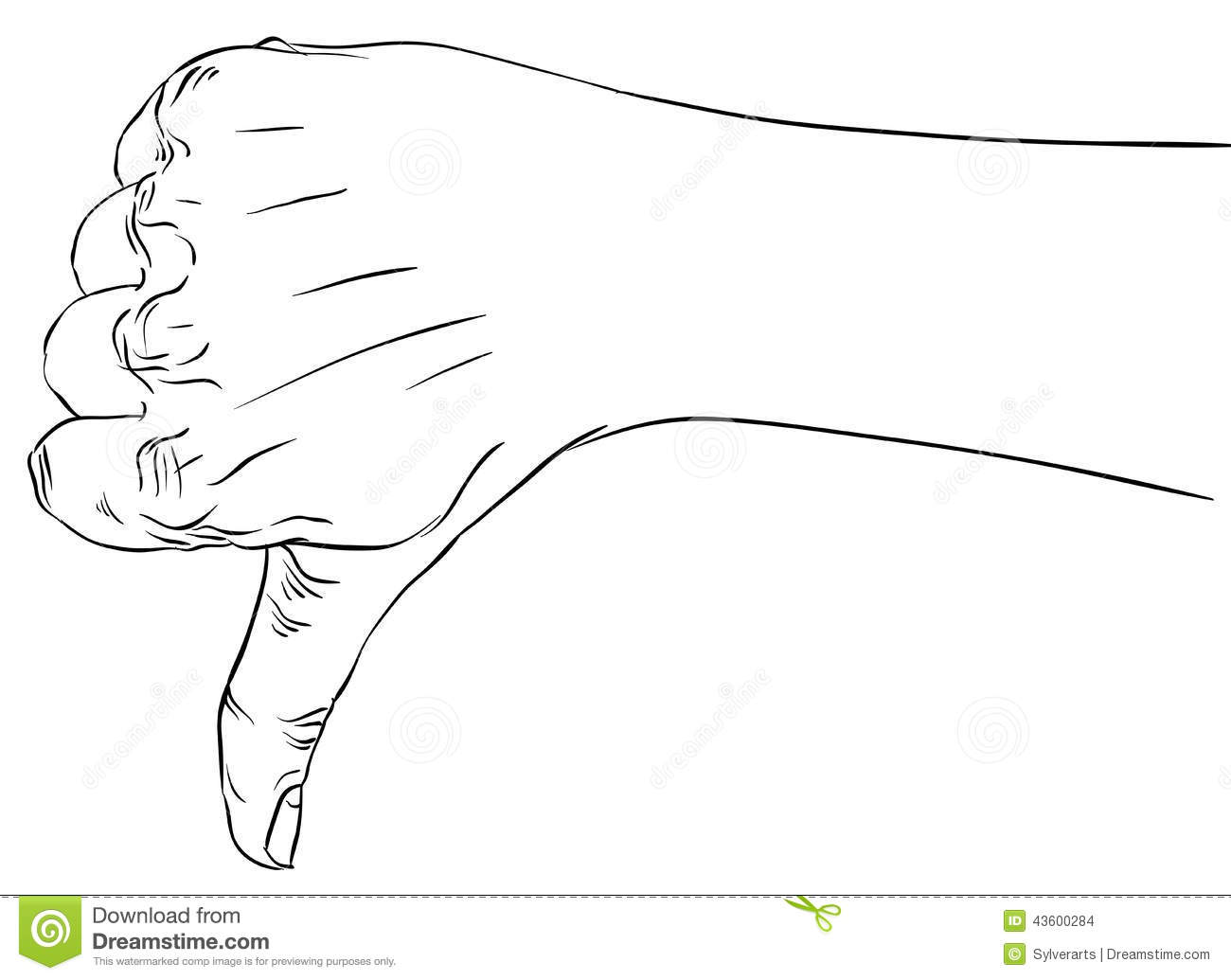 Thumb Down Hand Sign Detailed Black And White Lines Illu
