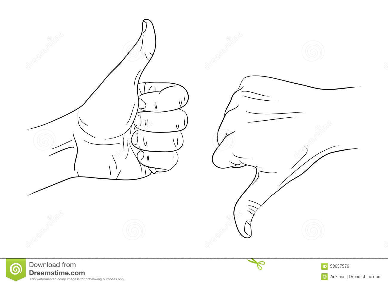 Thumb Up Thumb Down Outline Contour Stock Vector
