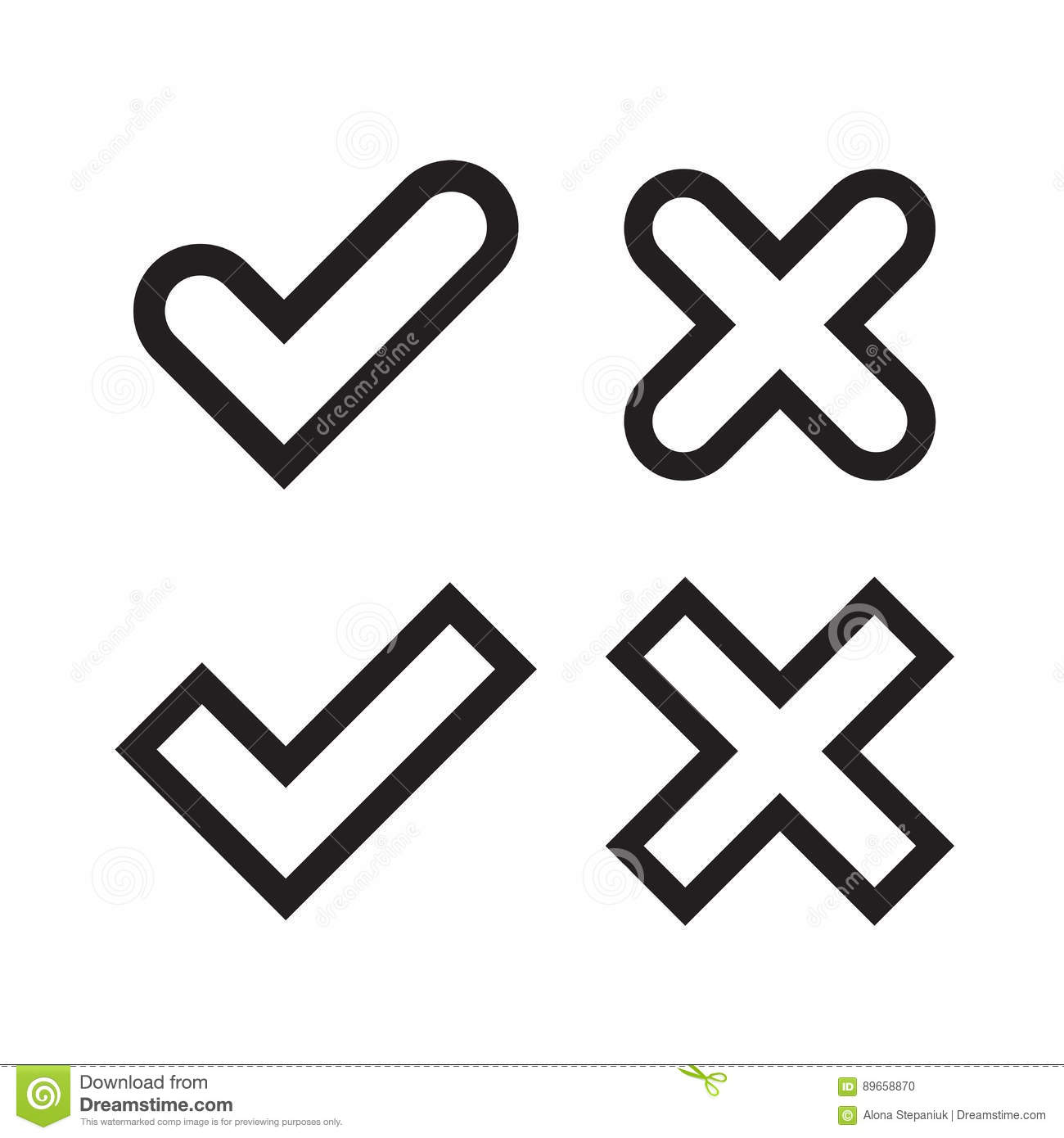 Tick And Cross Signs Simple Stock Vector