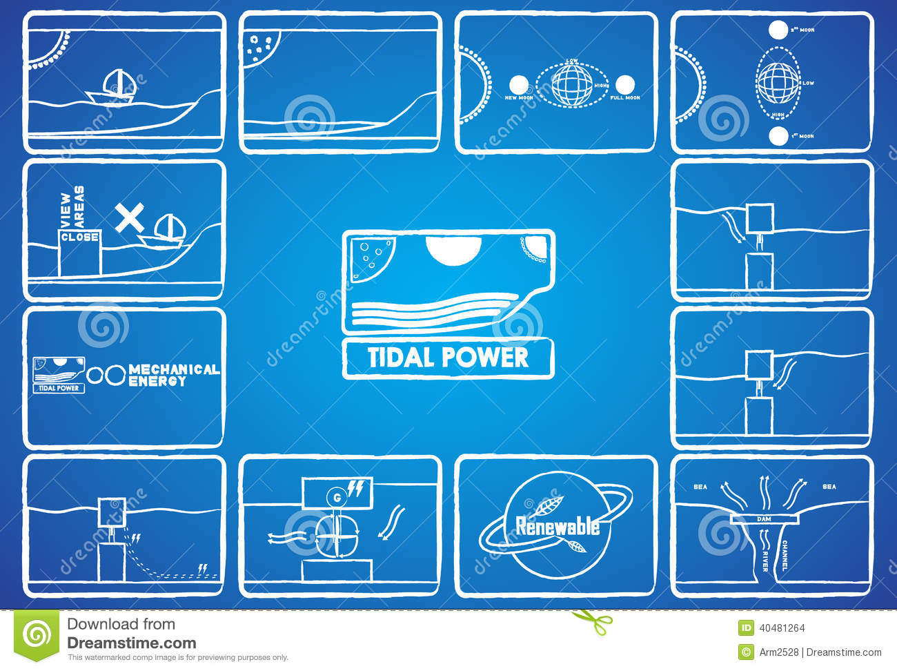 hight resolution of tidal power with 12 icon