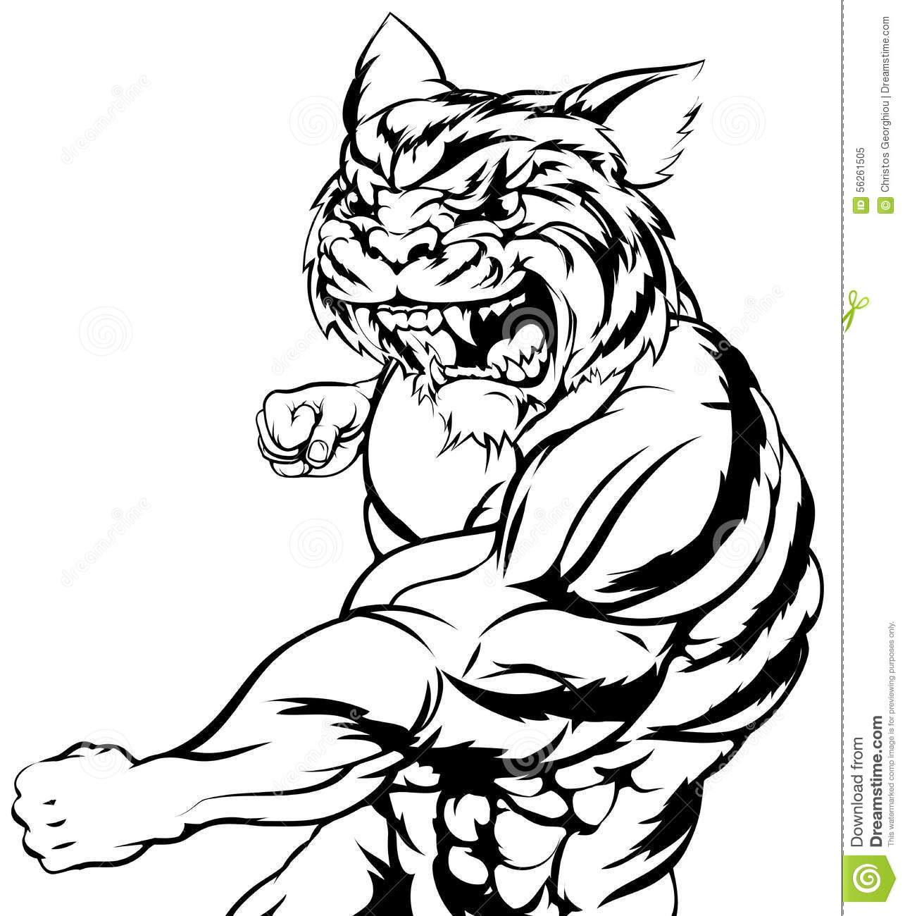 Tiger Character Fighting Cartoon Vector