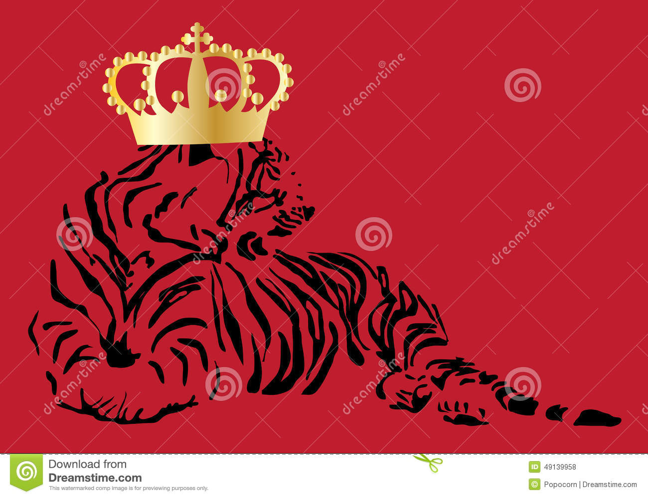 A Tiger With A Crown On Red Background Stock Illustration