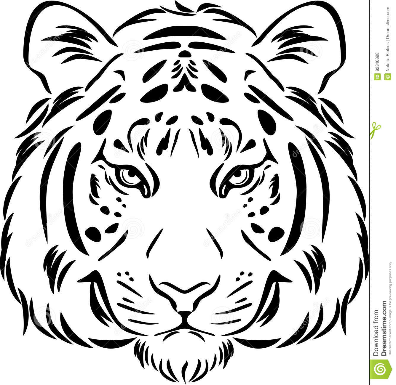 Tiger Head Black And White Outline Stock Vector