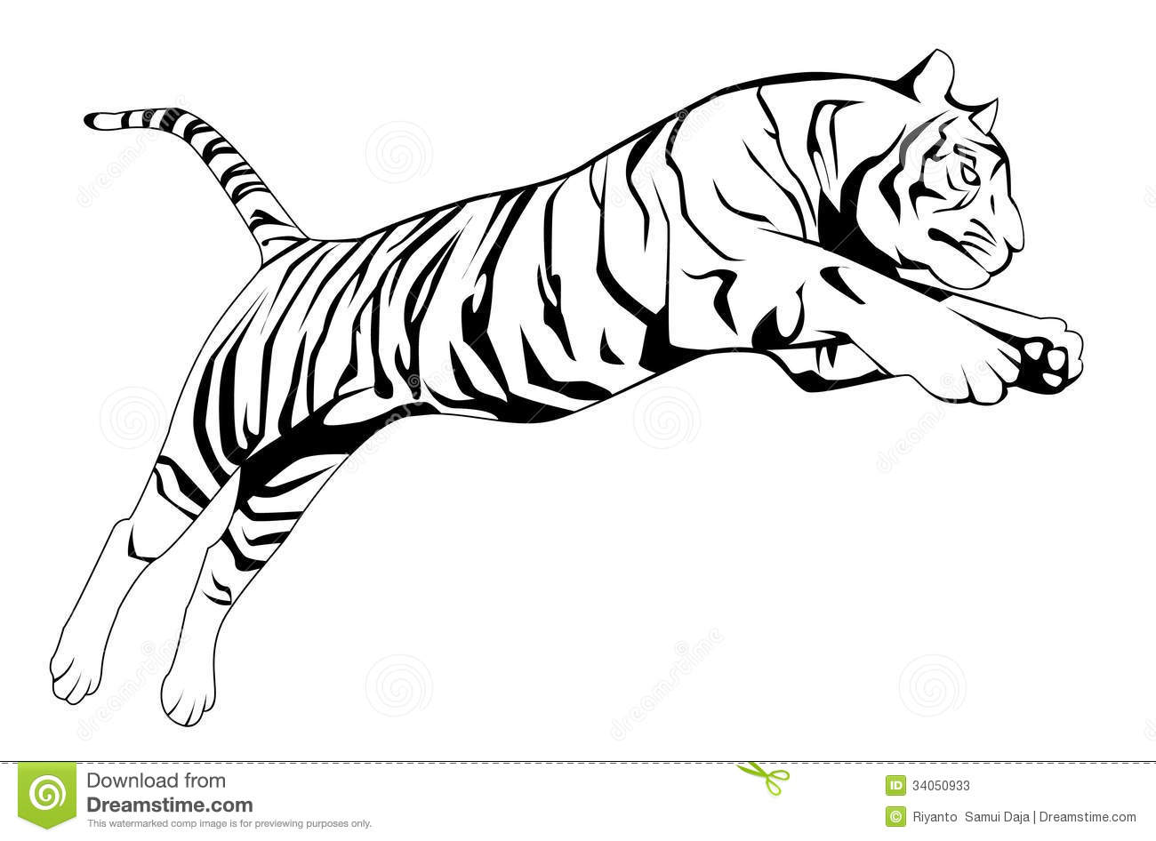 Tiger Jump Stock Vector Illustration Of Bengal Shape