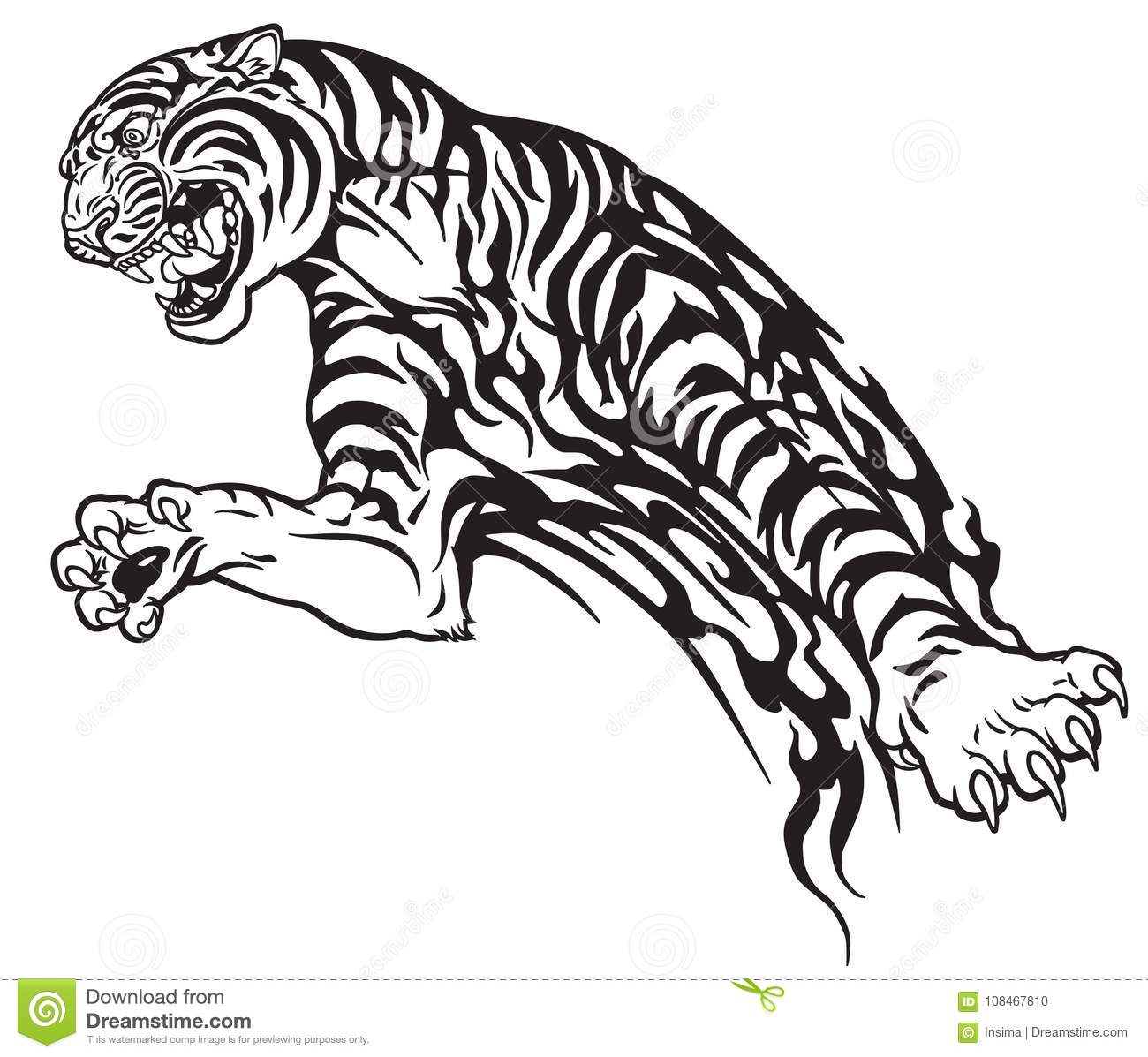 Tiger In The Jump Tribal Tattoo Stock Vector