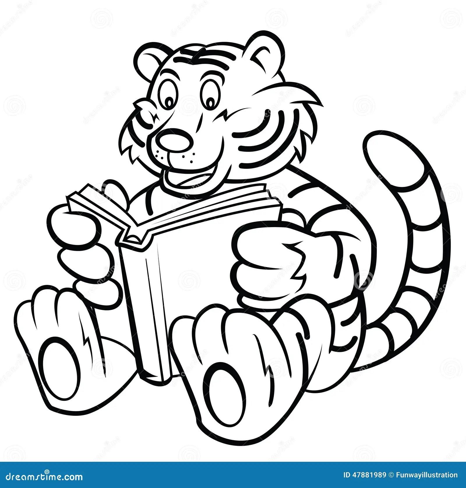 Tiger Kid Read A Book Stock Vector Illustration Of Fauna