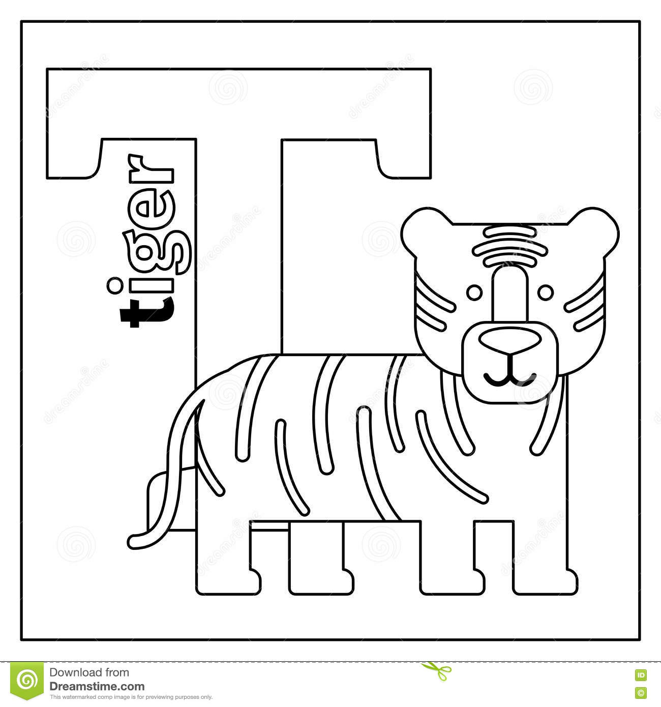 Tiger Letter T Coloring Page Stock Vector
