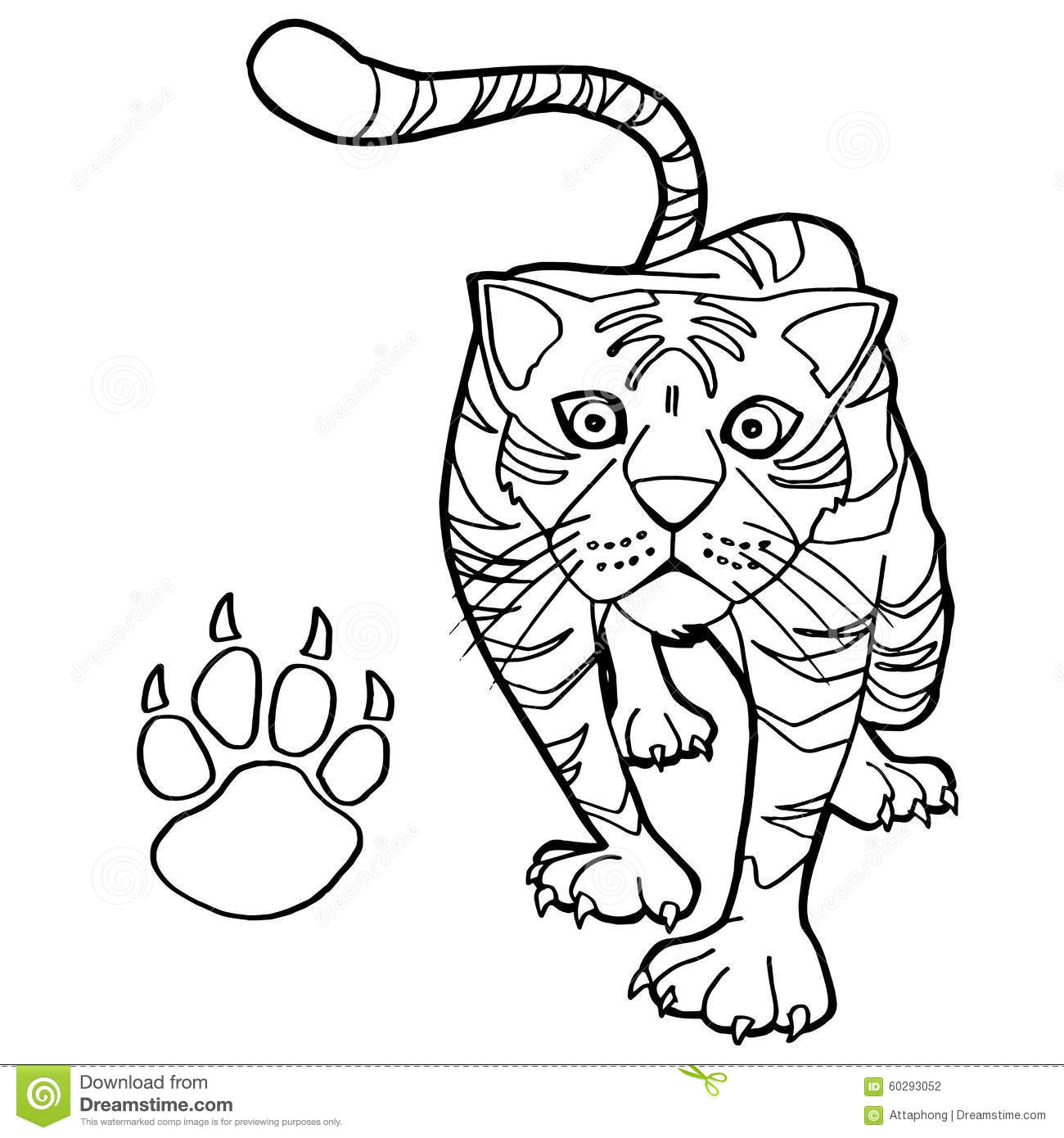 Tiger With Paw Print Coloring Page Vector Stock Vector