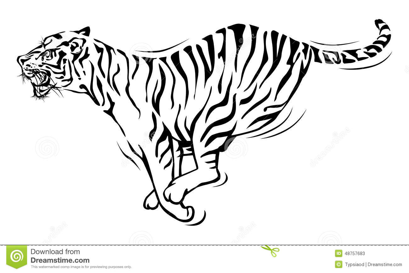 Running Tiger Drawing